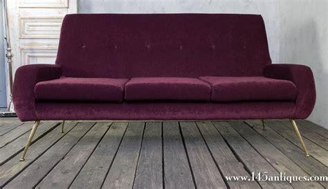eggplant sofa 1960s modern italian sofa in eggplant chenille upholstery