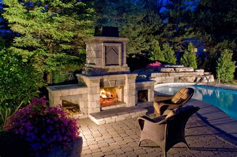 Pre Made Outdoor Fireplace by Outdoor Living Kitchens Fireplaces Firepits And More