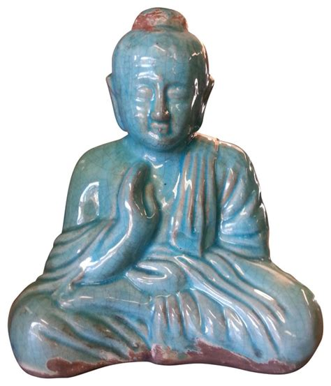 sitting buddha statue table accents home accents sitting buddha statue turquoise blue finish asian