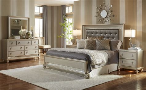 metallic bedroom furniture diva panel bedroom set from samuel lawrence 8808 255 257