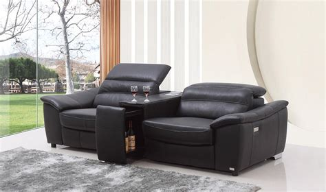 Donovan Black Italian Leather Recliner Sofa With Wine Cabinet Black Leather Sofa Recliner