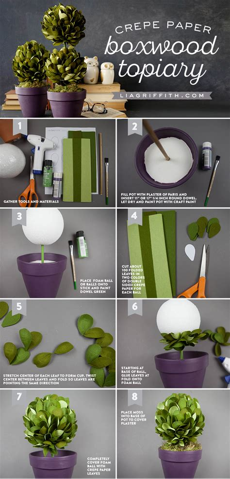 paper flower topiary tutorial crepe paper boxwood topiaries lia griffith