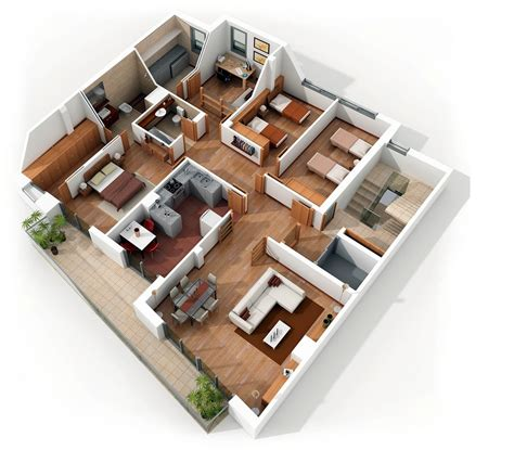 home design for 5 room flat planos para apartamentos con 4 habitaciones