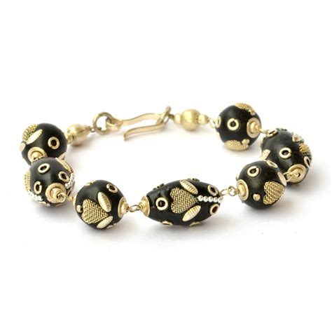 Handmade Bracelets - handmade bracelet black studded with metal