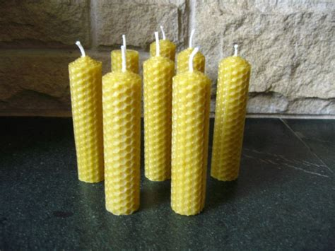 Handmade Beeswax Candles - 8 handmade beeswax pillar candles 4in x 1in