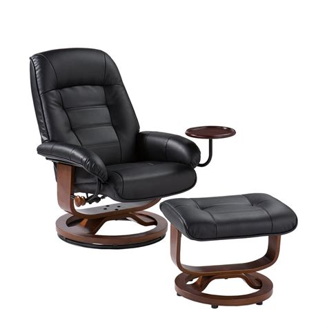 chair with attached ottoman bonded leather birch u base swivel glider reclining chair