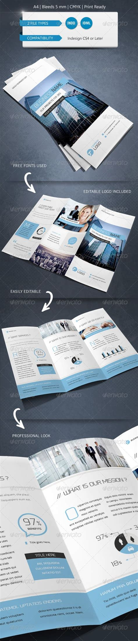 indesign trifold template corporate indesign trifold brochure template advertising