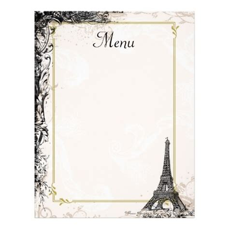 Blank French Menu Template World Of Printable And Chart Blank Menu Template