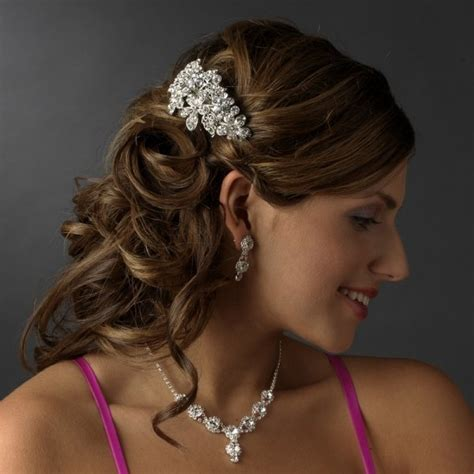 Flower Hair Barrette silver flower wedding hair barrette clip bridal hair