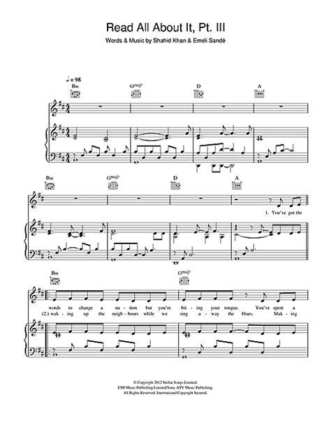 tutorial piano emeli sande read all about it read all about it part iii piano sheet music by emeli