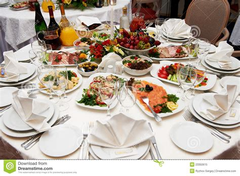 banquet table setup festive table setting for banquet stock image