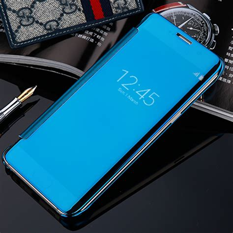 Samsung C5 2016 Flipcase Flip Mirror Cover S View Transparan Outo Lock for samsung c5 luxury clear view mirror flip electroplating for samsung galaxy c5 c5000 c7