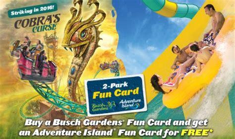 busch gardens williamsburg fall card free adventure island card with busch gardens card