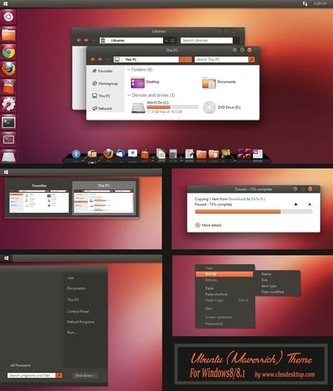 themes windows 10 ubuntu ubuntu theme for windows 8 1 windows10 themes i cleodesktop