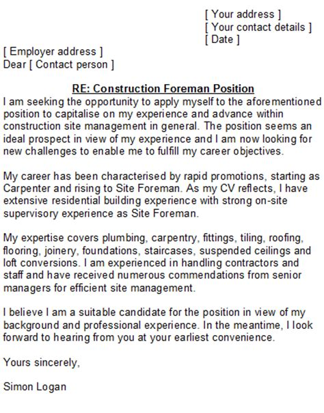 construction cover letter sle