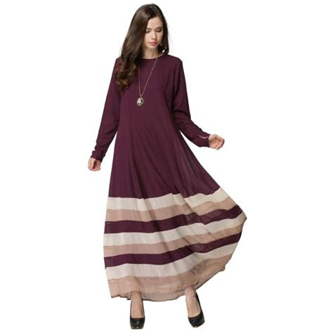 Maxi Trip Dress Busana Muslim froomer islamic muslim dress stripe maxi dress