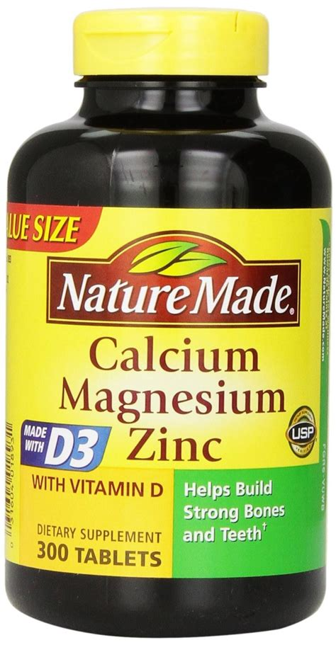 Vitamin Zinc nature made calcium magnesium zinc vitamins 300 tablets