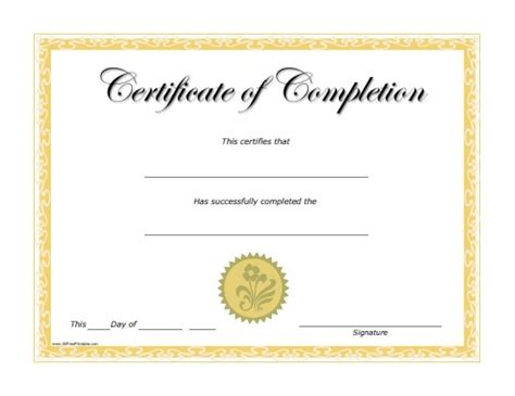 free template certificate of completion blank certificate of completion template helloalive