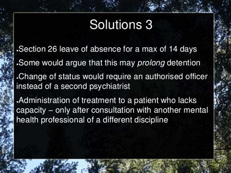 Section 17 Leave Mha by The Mental Health Act 2001 From A Clinician