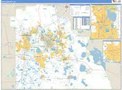polk county fl zip code wall map basic style by marketmaps