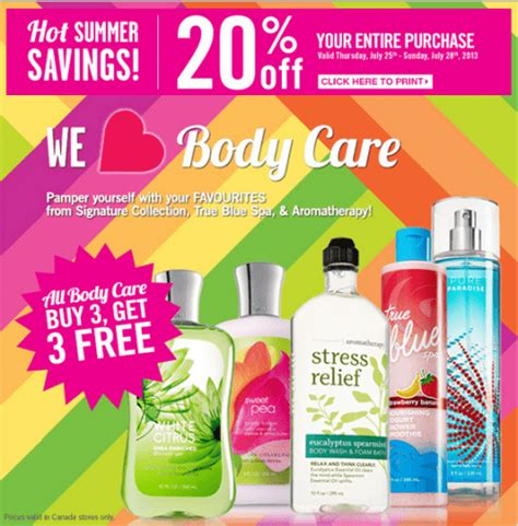 Bath And Body Works Gift Card Balance Canada - bath body works canada 20 off entire purchase no minimum spend printable coupon