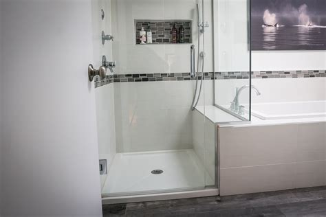 Shower and tub. Side by side. Griggs Building & Design Group