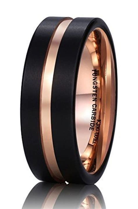 king  mm black mens tungsten carbide ring matte
