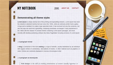 notebook templates for blogger my notebook blogger template