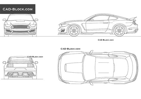 Cobra Auto Cad by Ford Mustang 2015 Autocad Drawings Cad Blocks