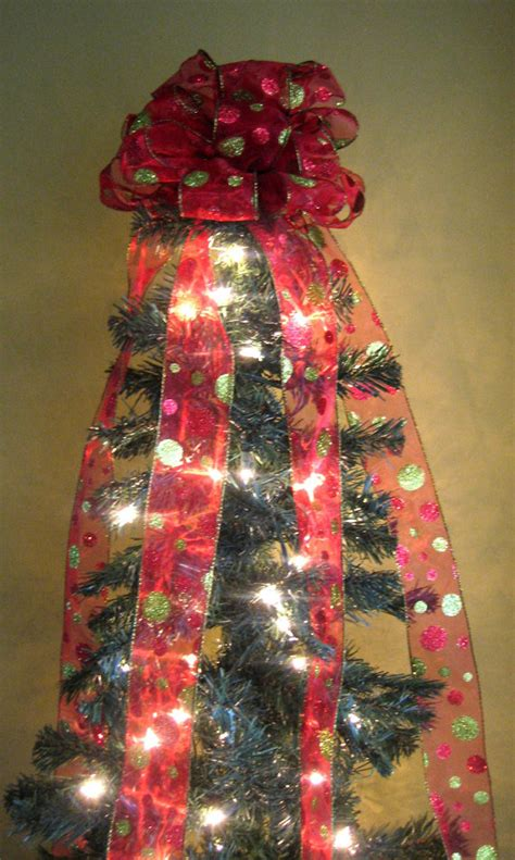 red lime green christmas tree bow topper tree topper with 5
