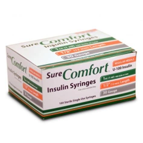 sure comfort insulin syringes 30 buy surecomfort insulin syringe 30 1cc 1 2 quot needle