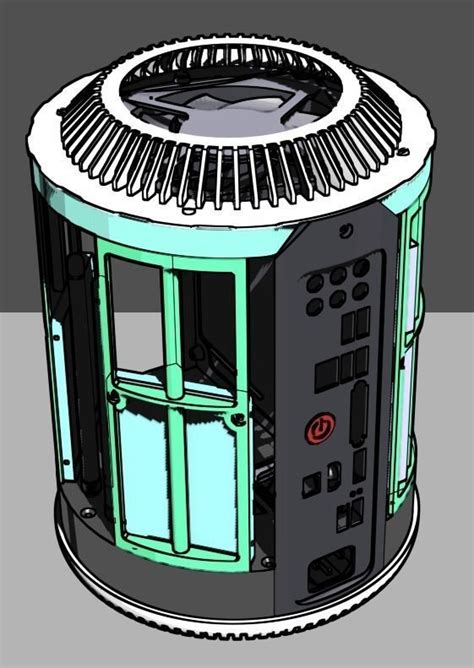 full printable itx case mac pro  style  model  printable stl dwg cgtradercom