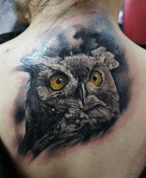 realistic owl tattoo great horned owl tattoos owl