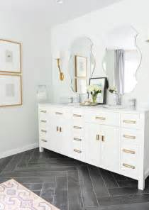 White Vanity Gray Tile Tracey Ayton Photography Bathrooms Ruhlmann Sconce
