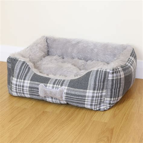 gray dog bed small grey check super soft luxury dog puppy cat pet bed cushion fur fleece s 163 13
