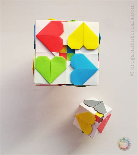How To Fold Origami Cube - origami hearty cube origami tutorials