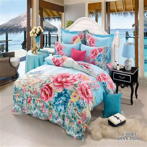 Bright Colored Bedding Sets Aliexpress Buy Modern 100 Cotton 3d Bedroom Sets Bright Colored Flower Bedding Set