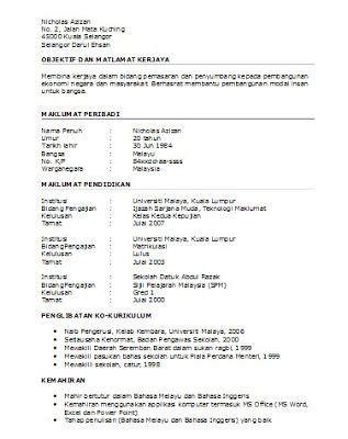 format cv terkini oh template resume dalam bahasa melayu terkini http