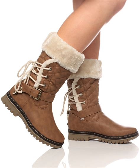 womens fur lined boots womens flat low heel lace fur lined snow