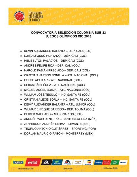 apropiaciiones de nomina colombia 2016 convocatoria oficial selecciones colombia para rio 2016