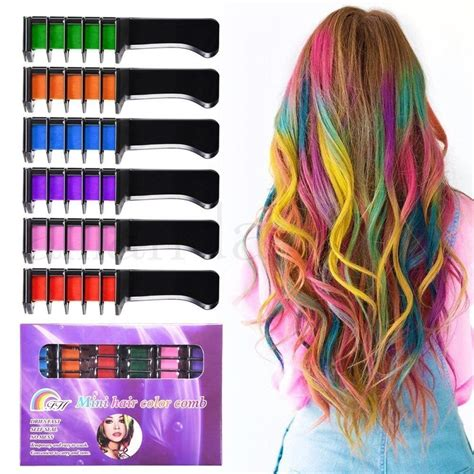 washable hair color hair chalk set of 6 colors non toxic washable temporary