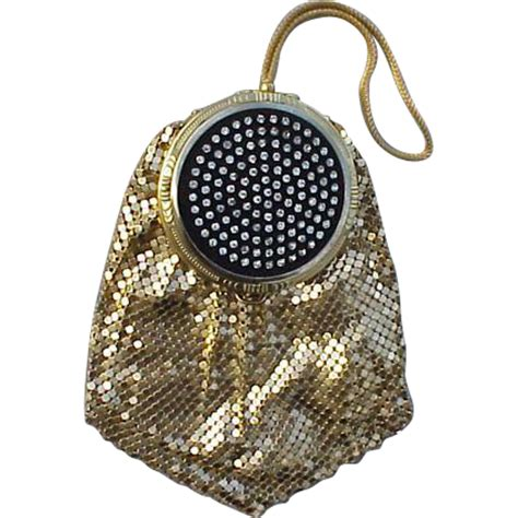 Toinette Bag By by 1940s Compact Purse Rhinestone Set Gold Mesh