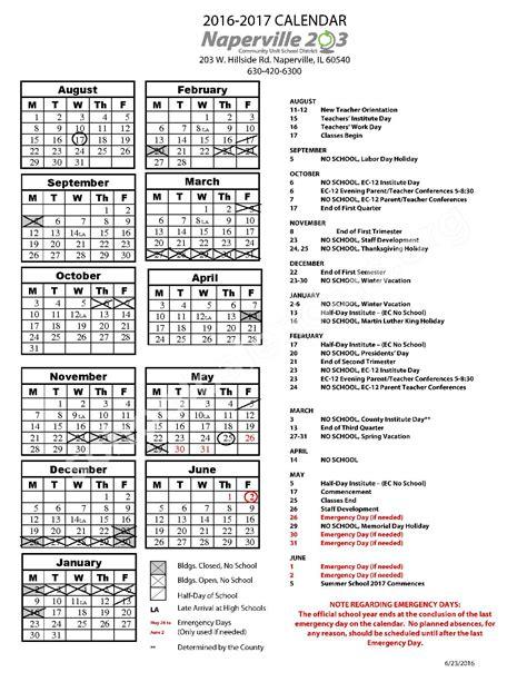 District 203 Calendar Naperville Community Unit School District 203 Calendars