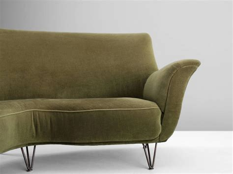 green velvet sofa for sale ico parisi large curved sofa in green velvet for sale at