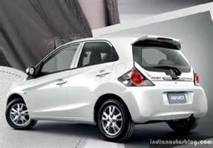 honda brio news new honda brio facelift white rear indian autos blog