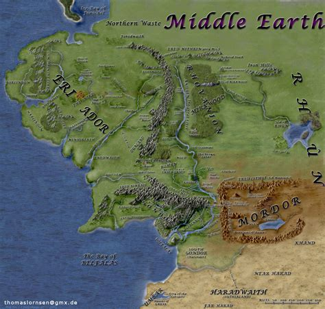 lord of the rings middle earth map middle earth