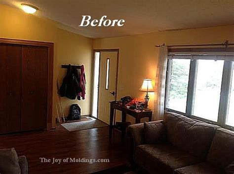 living room crown molding before after aaron s livingroom molding makeover the