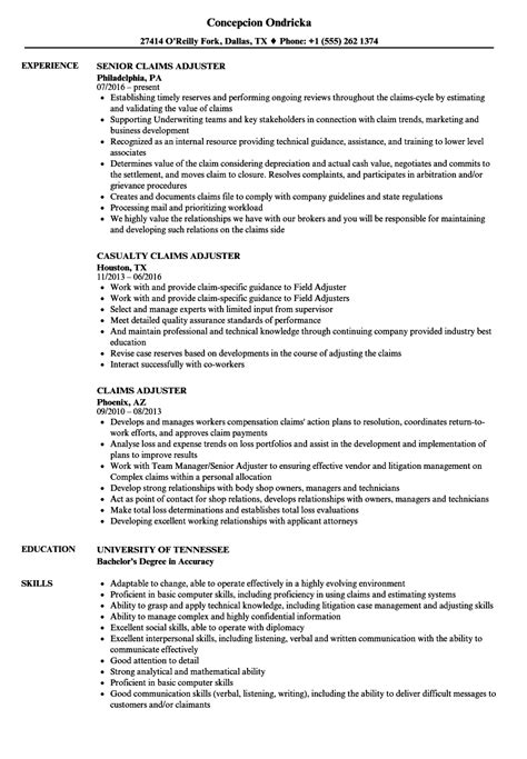 Claims Adjuster Resume by Claims Adjuster Resume Sles Velvet