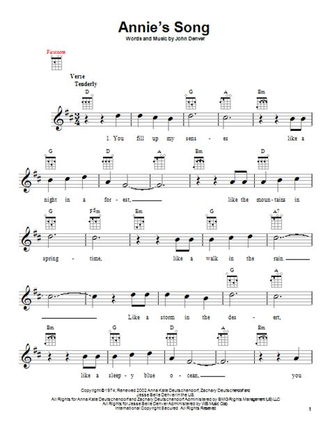printable lyrics annie s song john denver annie s song sheet music by john denver ukulele 151725