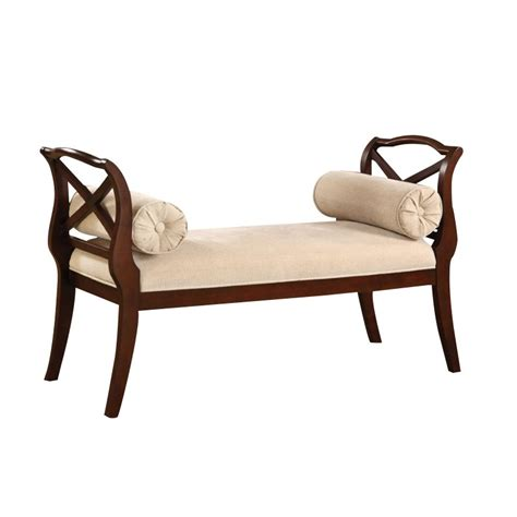 armed bench furniture furniture of america kerri scrolled arm bedroom bench in